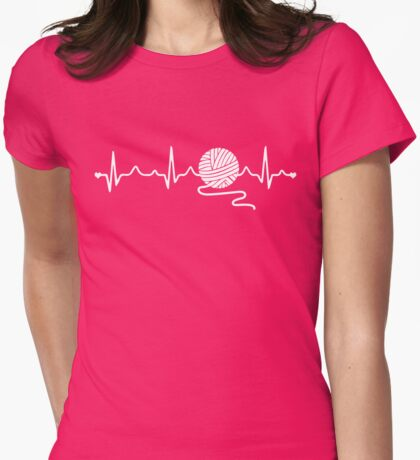 Knitting Heartbeat T shirt Gift Tee for Knitters Womens Fitted T-Shirt