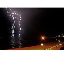 Bar Beach Lightning Photographic Print