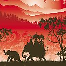 Indian Elephants and monkeys by Lara Allport