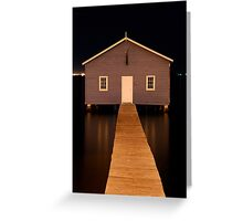 little boatshed on the river Greeting Card