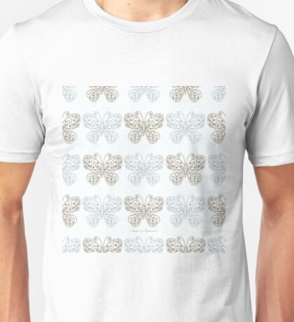 Gilded Butterflies Gold and Silver Pale Green Cyan T-Shirt