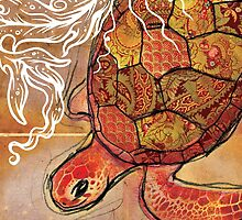 baby sea turtle- mixed media by Narelle Craven