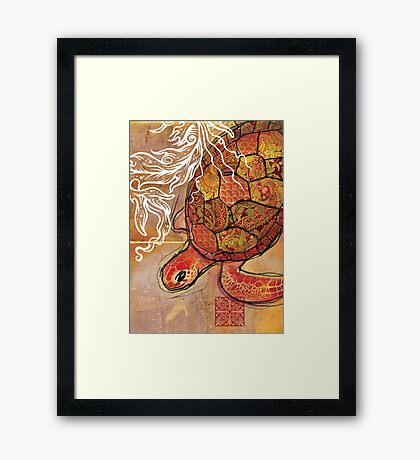 baby sea turtle- mixed media Framed Print