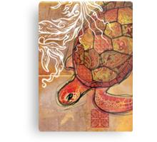 baby sea turtle- mixed media Metal Print