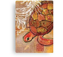 baby sea turtle- mixed media Canvas Print