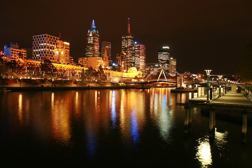 Melbourne city lights by Monty