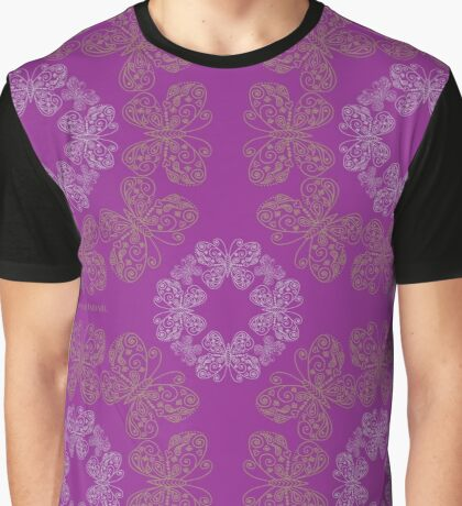 Gilded Butterflies Violet Magenta Graphic T-Shirt
