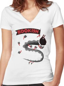 Bookish Dragon Women's Fitted V-Neck T-Shirt