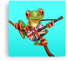 Tree Frog Playing Union Jack Guitar Canvas Print