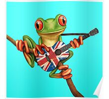 Tree Frog Playing Union Jack Guitar Poster