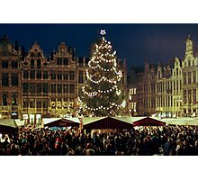 Christmas at the Grote Markt - Brussels - Belgium Photographic Print