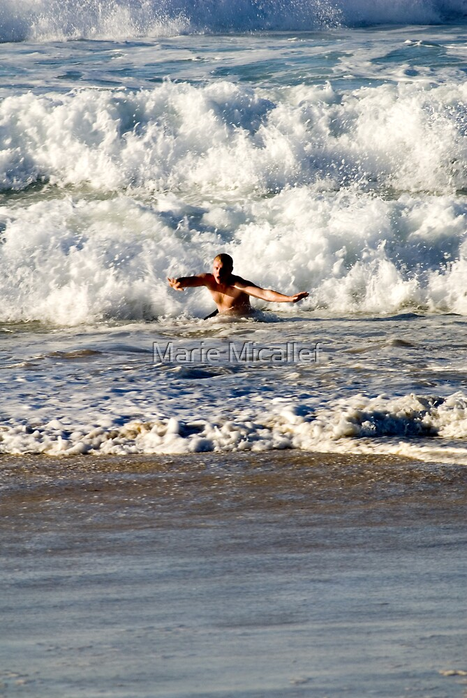 Man In Waves by Shutterbug