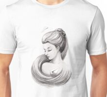Woman with paper airplane Unisex T-Shirt
