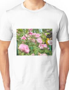 Pink Roses in the Garden Unisex T-Shirt