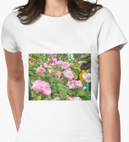 Pink Roses in the Garden Womens Fitted T-Shirt