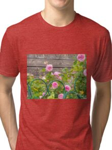 Pink Roses in the Garden 3 Tri-blend T-Shirt