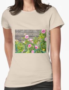 Pink Roses in the Garden 3 Womens Fitted T-Shirt