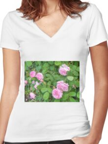 Pink Roses in the Garden 5 Women's Fitted V-Neck T-Shirt
