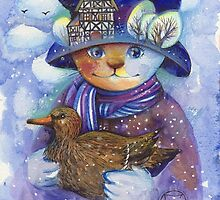 winter cat by oxana zaika