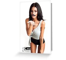 HOT FUZZ BABES IN MUSTACHE MOVEMBER KISS Greeting Card