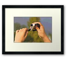 hand and kite Framed Print