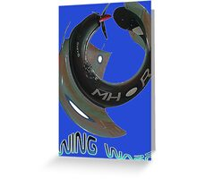 Boomerang Fighter Wing Warp T-shirt Design Greeting Card