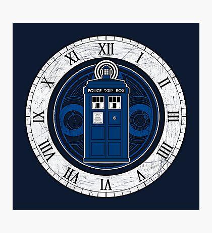 TARDIS and Clock - Doctor Who Photographic Print