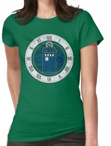 TARDIS and Clock - Doctor Who Womens Fitted T-Shirt