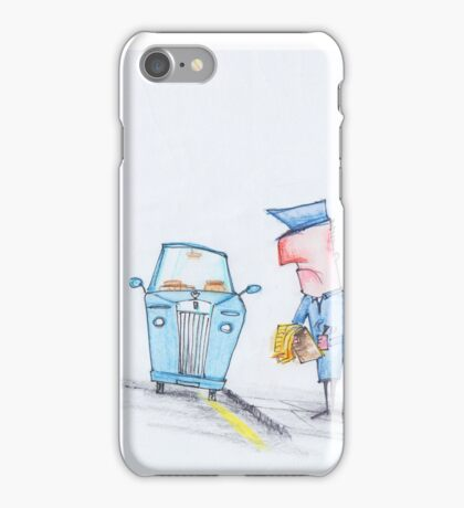 Oh no, the fancy car is getting a ticket! iPhone Case/Skin