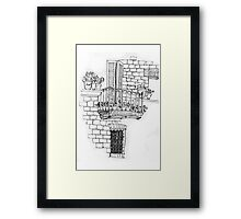 Italy- A window below the balcony in Assisi Framed Print