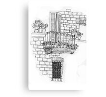 Italy- A window below the balcony in Assisi Canvas Print