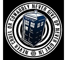 Never Cruel Or Cowardly - Doctor Who - Blue TARDIS Photographic Print