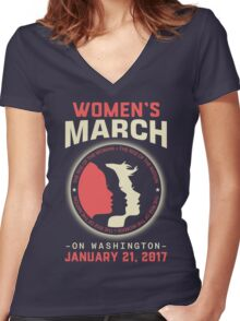 Women's March WASHINGTON Women's Fitted V-Neck T-Shirt