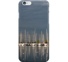 A Break in the Clouds - Gray Sky, White Yachts iPhone Case/Skin