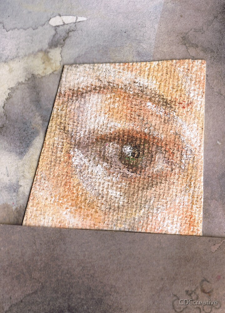 Contemplation - mixed media collage: pastel and watercolour on canvas paper  by CDCcreative