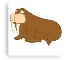 Cute smiling cartoon walrus Canvas Print