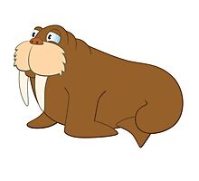 Cute smiling cartoon walrus Photographic Print