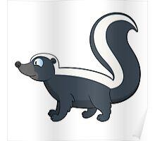 Friendly smiling cartoon skunk standing Poster