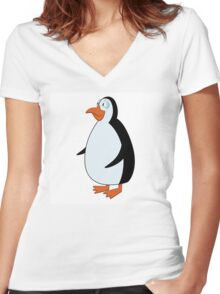 Cute smiling cartoon penguin standing Women's Fitted V-Neck T-Shirt