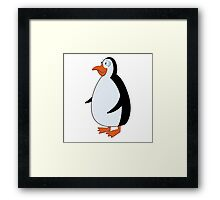 Cute smiling cartoon penguin standing Framed Print