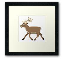 Cute cartoon reindeer walking Framed Print