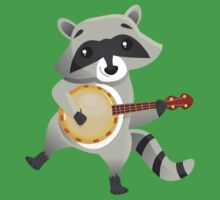 Funny raccoon playing the banjo Kids Tee