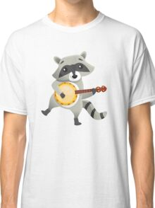 Funny raccoon playing the banjo Classic T-Shirt