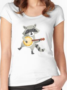 Funny raccoon playing the banjo Women's Fitted Scoop T-Shirt