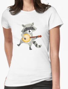 Funny raccoon playing the banjo Womens Fitted T-Shirt