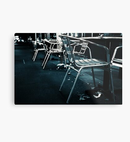 At empty chairs and empty tables Metal Print