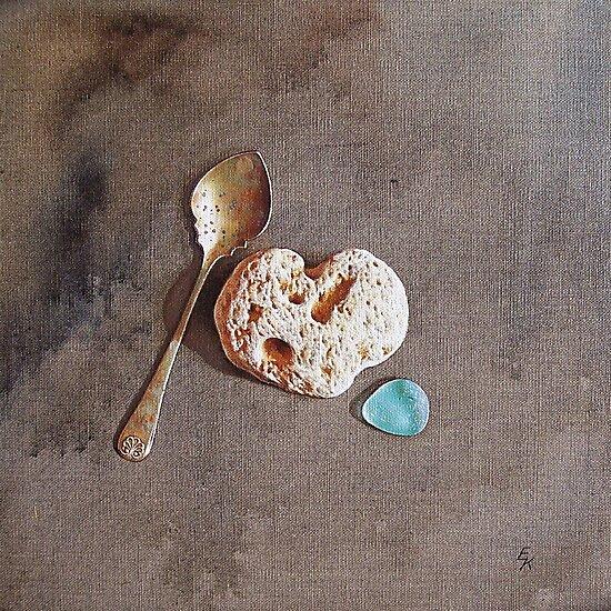 """""""Still life with teaspoon and heart stone"""" by Elena Kolotusha"""