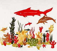 Coral Reef With Shark and Dolphin Papercut by Hazel Partridge