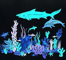 Neon Coral Reef Papercut by Hazel Partridge