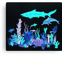 Neon Coral Reef Papercut Canvas Print